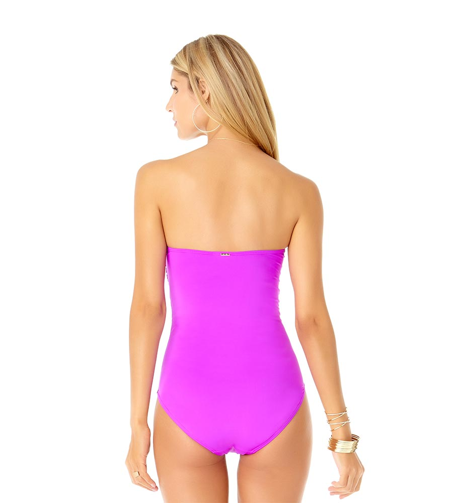 SPACE JAM PURPLE TWIST FRONT BANDEAU ONE PIECE ANNE COLE 19MO00501-PURP