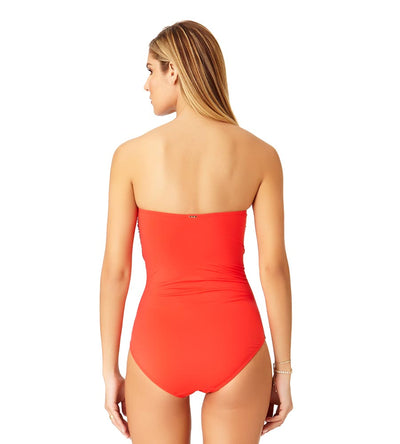 RED HOT TWIST FRONT BANDEAU ONE PIECE ANNE COLE 19MO00501-RED