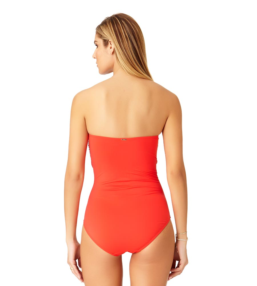 9f4dcd25ac7b3 RED HOT TWIST FRONT BANDEAU ONE PIECE ANNE COLE 19MO00501-RED
