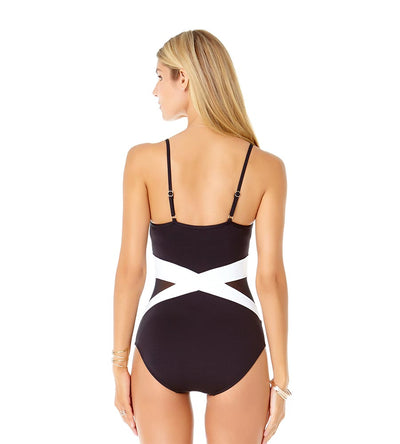 COLORBLOCK MESH SPLICED ONE PIECE ANNE COLE 19MO01604-BKWH