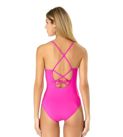 PINK RIC-RAC SOLIDS LACE-UP LINGERIE MAILLOT ANNE COLE 19MO03201-PINK