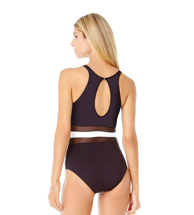 COLORBLOCK MESH HIGH NECK ONE PIECE ANNE COLE 19MO03304-BKWH