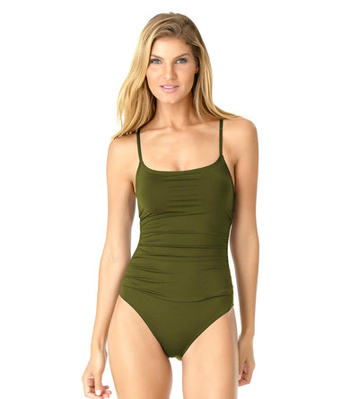 DIRTY MARTINI SHIRRED LINGERIE MAILLOT ANNE COLE 19MO05701-OLIVE