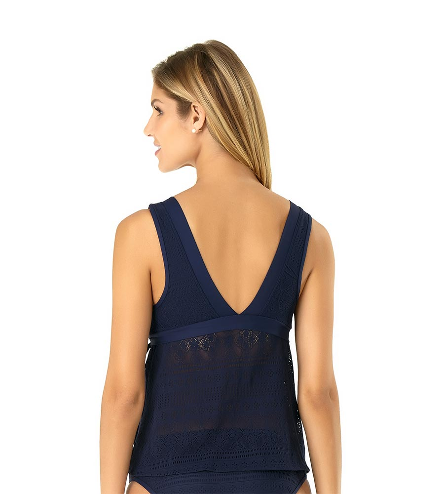 NEW NAVY IN FIRST LACE WRAP FLOUNCE TANKINI BY ANNE COLE