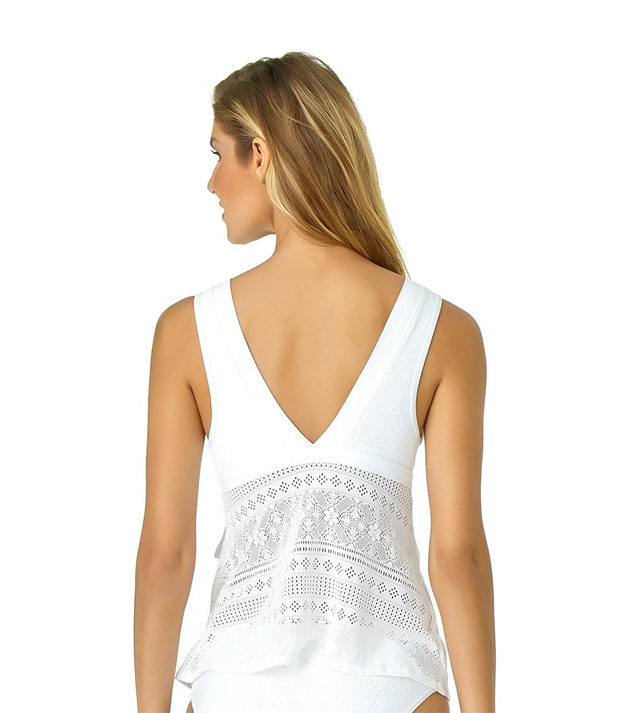 WHITE IN FIRST LACE WRAP FLOUNCE TANKINI BY ANNE COLE