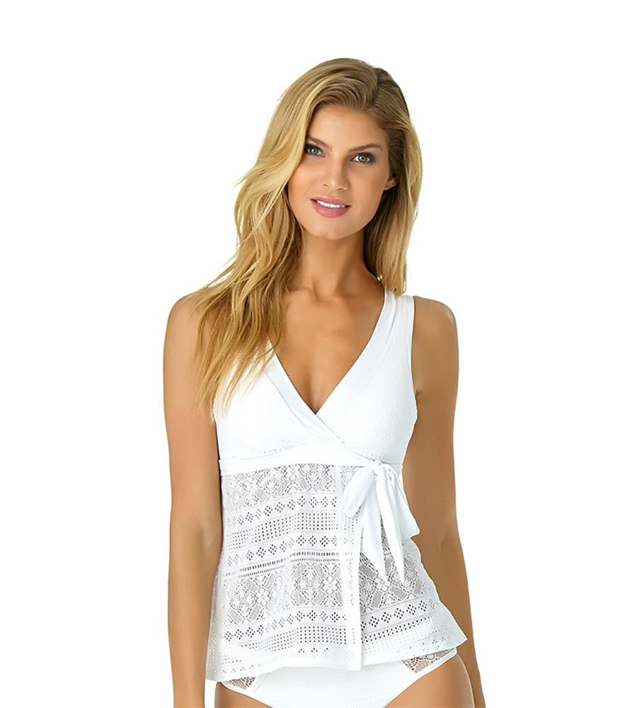170f600c8a WHITE IN FIRST LACE WRAP FLOUNCE TANKINI ANNE COLE 19MT24305-WHT