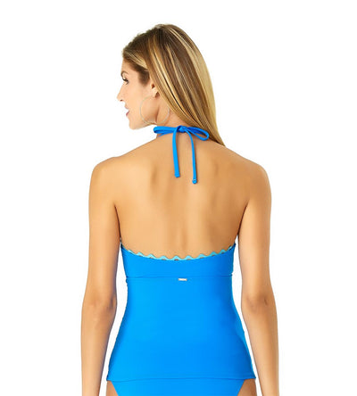 BLUE RIC-RAC SOLIDS KEYHOLE HIGH NECK TANKINI ANNE COLE 19MT24901-BLUE