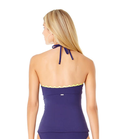 NAVY RIC-RAC SOLIDS KEYHOLE HIGH NECK TANKINI ANNE COLE 19MT24901-NAVY