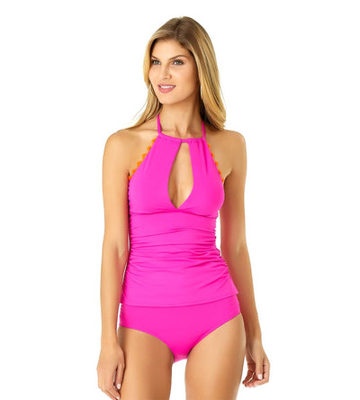 PINK RIC-RAC SOLIDS KEYHOLE HIGH NECK TANKINI ANNE COLE 19MT24901-PINK