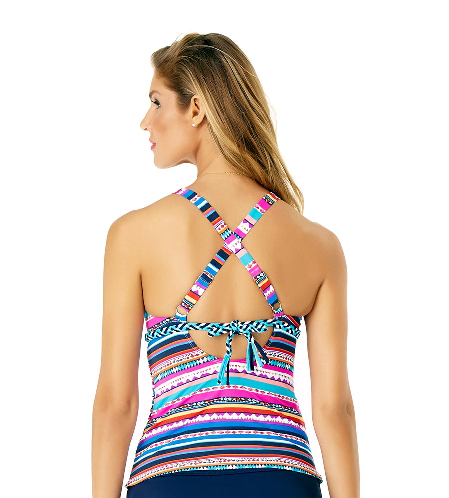 RETRO BRAID STRIPE HIGH NECK TANKINI BY ANNE COLE