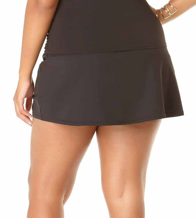 BLACK ADJUSTABLE SARONG SWIM SKIRT ANNE COLE 19PB40701-BLK