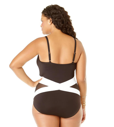 COLORBLOCK MESH SPLICED ONE PIECE ANNE COLE 19PO01604-BKWH