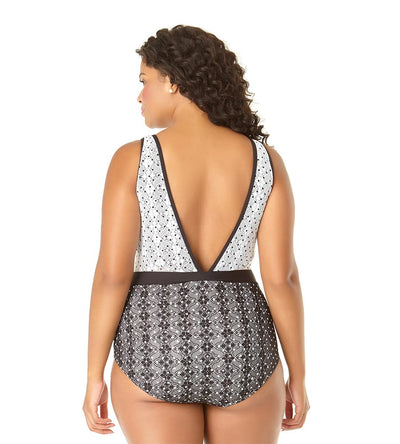 IN FIRST LACE DOT CROCHET HIGH NECK ONE PIECE ANNE COLE 19PO09103-BKWH