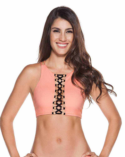 EVERY DAY IN COLORS NEON CORAL CROP TOP ONDADEMAR 21203-EVYC-9003