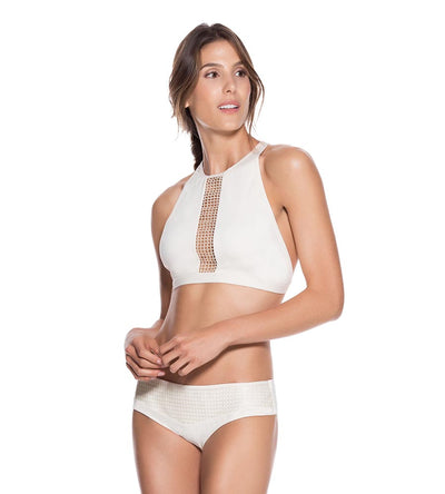 ECRU HIGH NECK TOP ONDADEMAR 21244-CRU