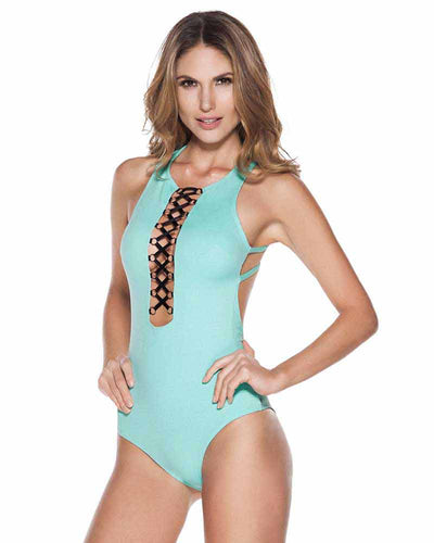 EVERY DAY IN COLORS TURQUOISE LACE UP ONE PIECE ONDADEMAR 23130-EVYC-2020