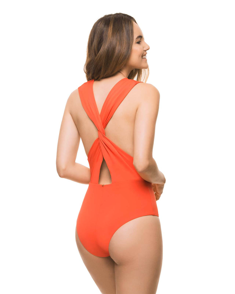 BASICS ORANGE PLUNGE ONE PIECE BY ESTIVO
