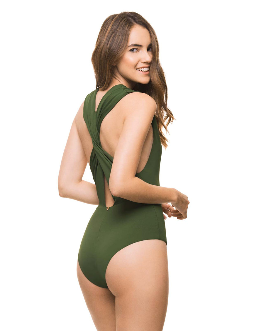 BASICS ARMY GREEN PLUNGE ONE PIECE BY ESTIVO