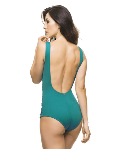BASICS TEAL HALTER ONE PIECE ESTIVO 3041-SLD-51