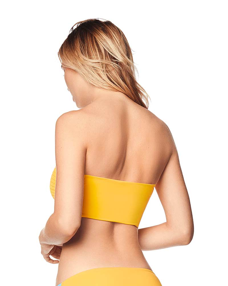 MELLOW YELLOW RUCHED BIKINI TOP BY MAAJI