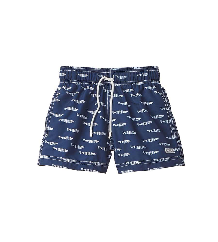 STRIPE FISH SWIM SHORTS AZUL AZ329