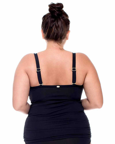 BLACK ICONIC TWIST TANKINI TOP CURVE 395BLCK