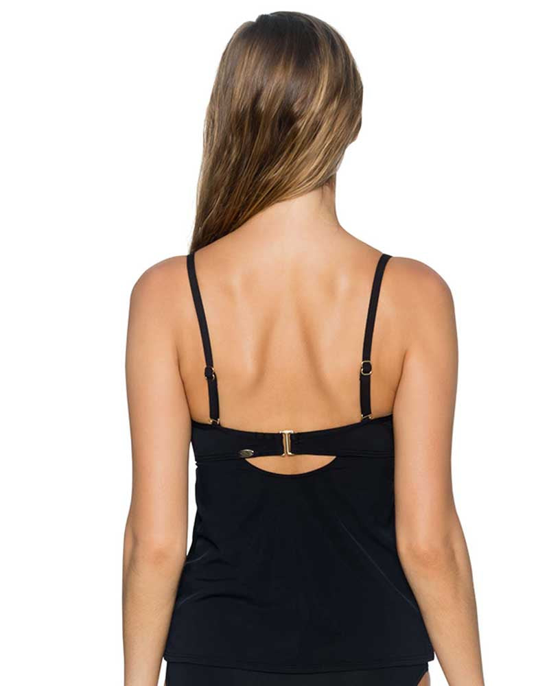 BLACK ICONIC TWIST TANKINI TOP BY SUNSETS