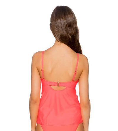 BRIGHT GUAVA ICONIC TWIST TANKINI TOP SUNSETS 70BRGU