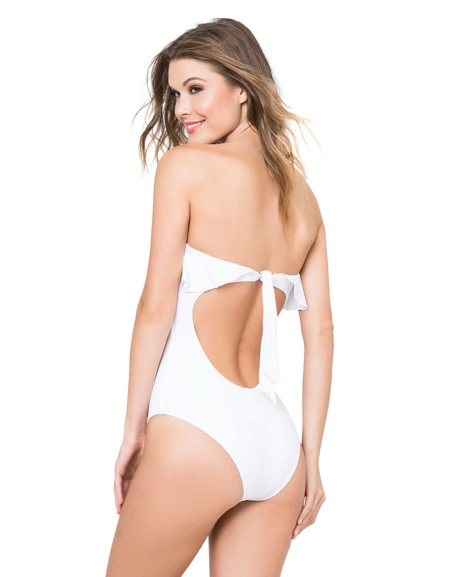 WHITE RUFFLES ONE PIECE BY KIBYS