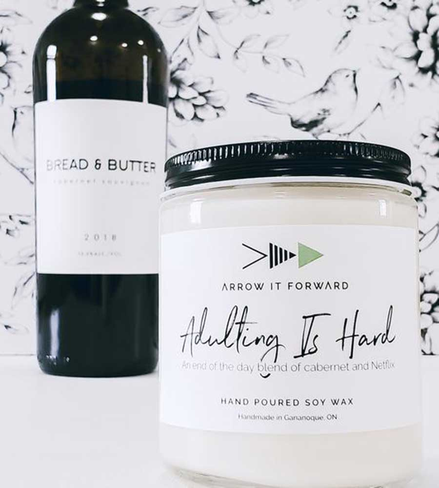 ADULTING IS HARD 8OZ SOY CANDLE ARROW IT FORWARD AIT-005