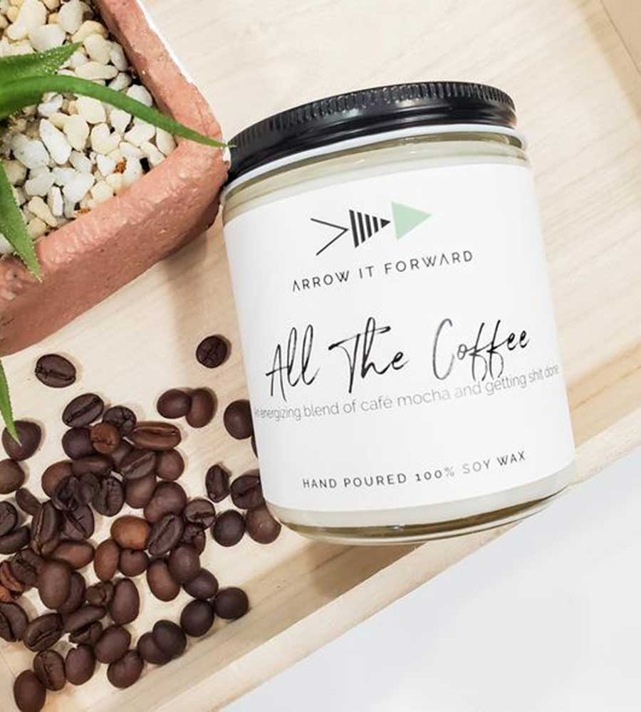 ALL THE COFFEE 8OZ SOY CANDLE ARROW IT FORWARD AIT-003