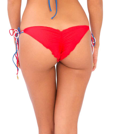 AMERICAN DREAM BRAZILIAN RUCHED TIE SIDE BOTTOM LULI FAMA L49402M-111