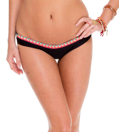 ATREVIDA BLACK CROCHET LO RISE HIPSTER BOTTOM BY LULI FAMA