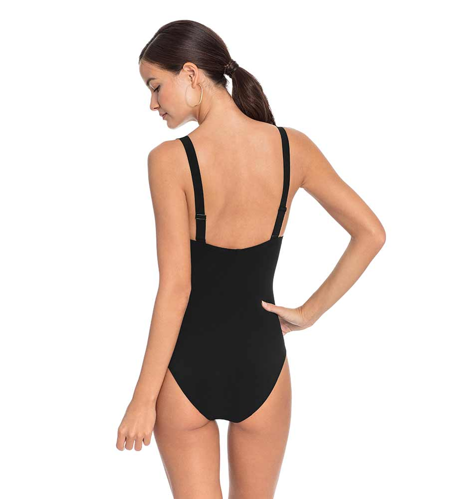 AVA BLACK KNOT PLUNGE ONE PIECE ROBIN PICCONE 191716-BLK
