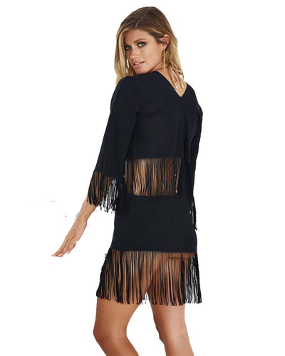 BLACK INDIAN SUMMER TUNIC BEACH BUNNY B16130C2-BLCK