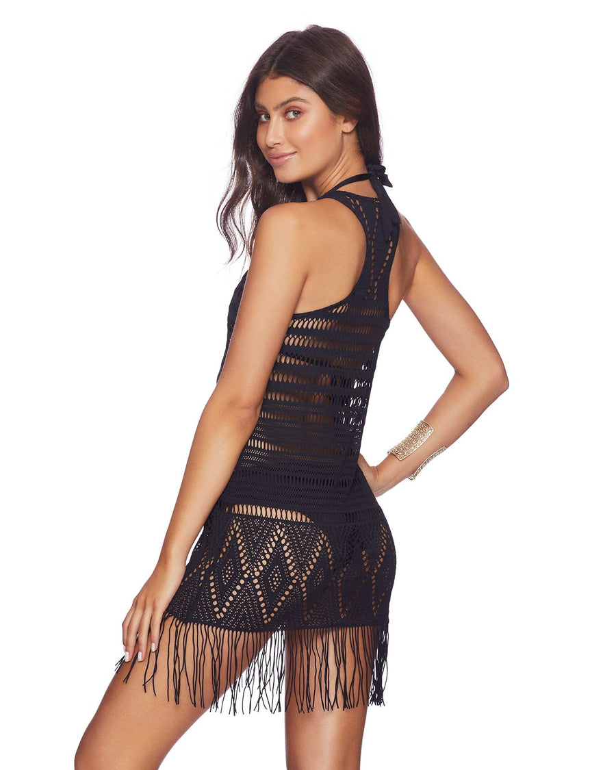 DESERT DREAMER FRINGE MINI DRESS BLACK BY BEACH BUNNY