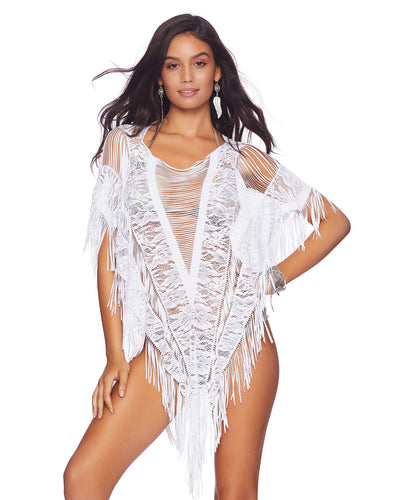 WHITE INDIAN SUMMER PONCHO BEACH BUNNY B17120C0-WHTE