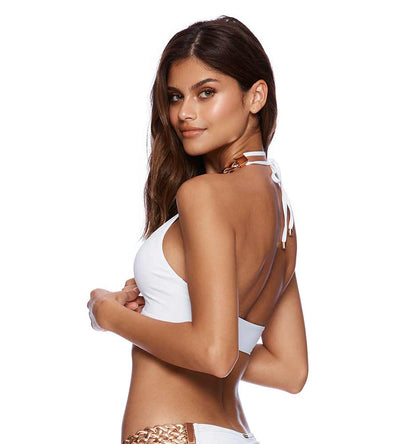 WHITE ALEXA HIGH NECK TOP BEACH BUNNY B18100T5-WHTE