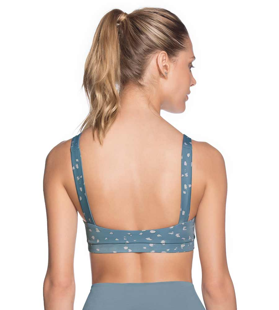 BEAM SPOTTED AQUA MEDIUM IMPACT SPORTS BRA MAAJI 2033ASB01