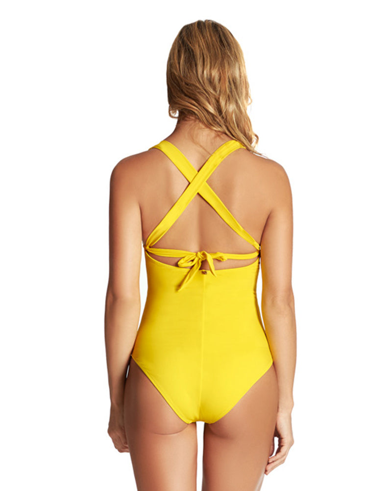 YELLOW COLOR MIX HALTER ONE PIECE PHAX BF16160001-720