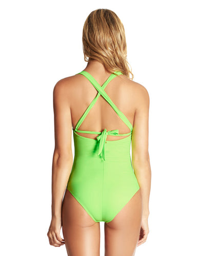 NEON GREEN COLOR MIX HALTER ONE PIECE PHAX BF16160002-315