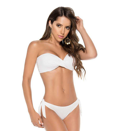 WHITE COLOR MIX TWIST BANDEAU TOP PHAX BF16520019-100