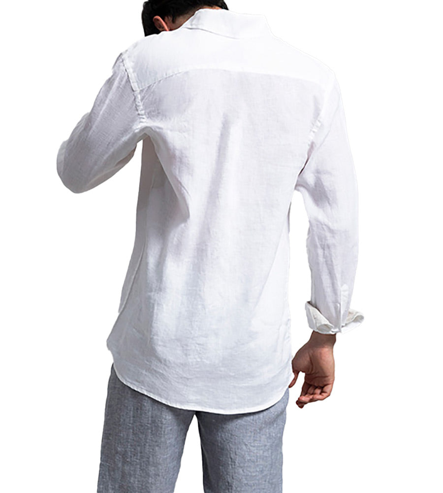 BIANCO LINEN LONG SLEEVE SHIRT BY TOUCHE