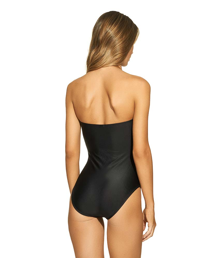 BLACK LEATHER CELINE ONE PIECE BY VIX