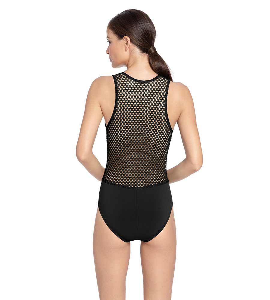 BO MESH BLACK PLUNGE ONE PIECE BY ROBIN PICCONE