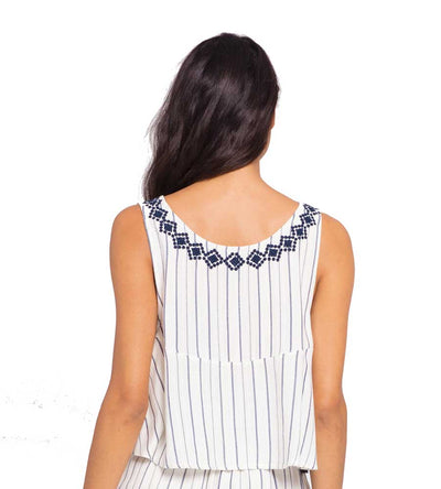 NAVY STRIPE BRIDGET TOP LSPACE BRITP19-NVW