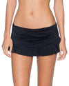 ONYX ALOHA SKIRTED HIPSTER BOTTOM SWIM SYSTEMS C282ONYX