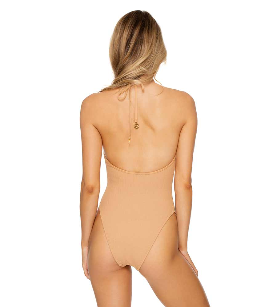 CARAMELO JAGGED BOMBSHELL HIGH LEG ONE PIECE LULI FAMA L624N67-494