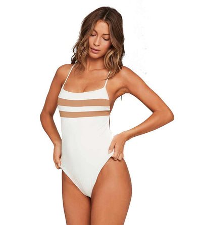 CREAM COLOR BLOCK HIGH IMPACT ONE PIECE LSPACE CBHIMB19-CRM