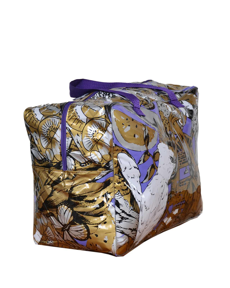 GOLD PURPLE TROPICAL VIBES TOWEL BAG BY MOLA MOLA